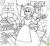 Cinderella Coloring Pages Outline Chores Doing Maid Clipart Disney Clip Colouring Around Housekeeping Housework Castle Cartoon Template Printable Royalty Illustration sketch template