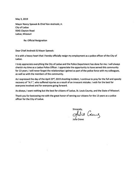 Ladue Officer Julia Crews resignation letter | Online | stltoday.com