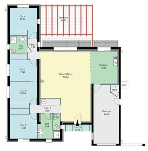 plan de maison en l avec 4 chambres maison bioclimatique dé du plan de maison