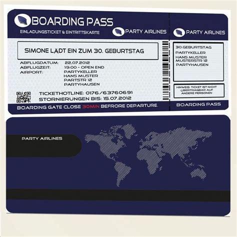 einladungskarten geburtstag einladung flugticket