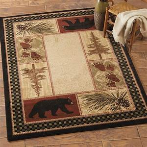 Timber woods bear rug 2 x 3 for Cabin bathroom rugs