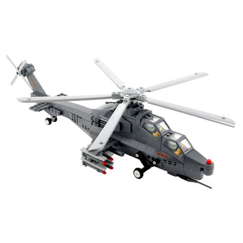 Military Attack Helicopter Building Block Toy