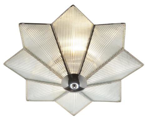 art deco star reeded glass flush ceiling light