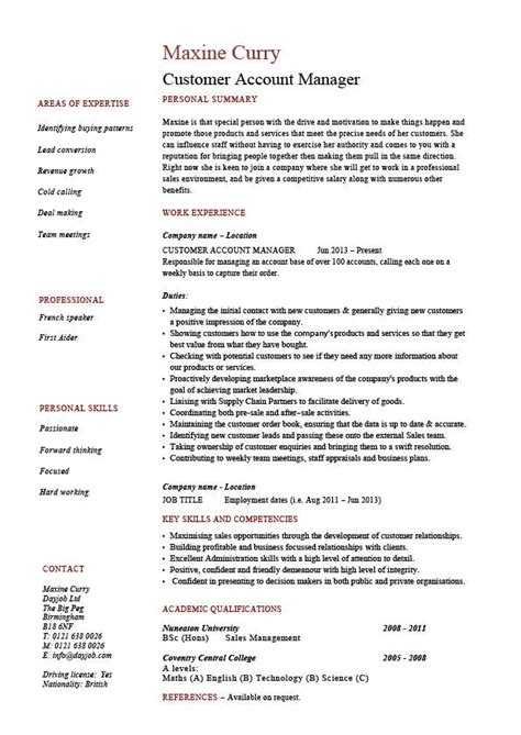 customer account manager cv template 1 resume sales