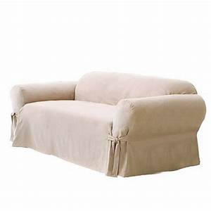 Soft micro suede solid beige tan khaki couch sofa for Beige slipcover sofa