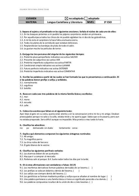 Examen Ejemplo De Lengua Castellana Y Literatura 1º Eso