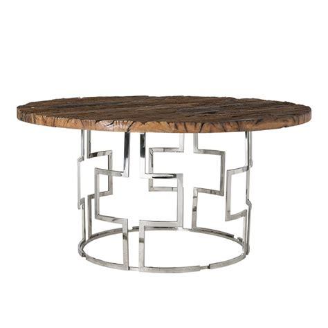 tisch holz metall tisch rund holz metall verchromt runder tisch braun durchmesser 150 cm