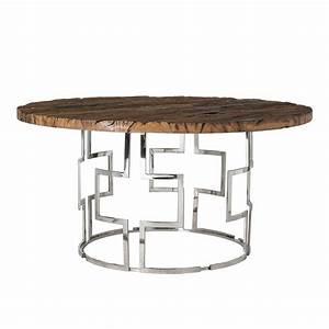 Tisch Metall Holz : tisch rund holz metall verchromt runder tisch braun durchmesser 150 cm ~ Whattoseeinmadrid.com Haus und Dekorationen