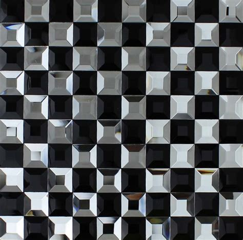 Black and Silver Glass Mosaic Tile 3D Pyramid Crystal