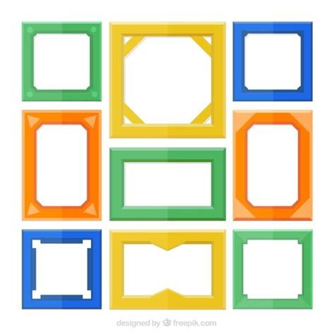 colorful picture frames set of colorful frames flat style vector free
