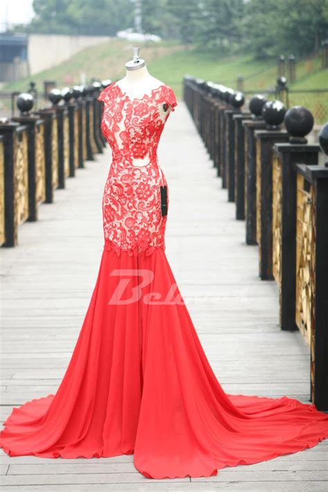 red lace cap sleeves mermaid prom dress  open