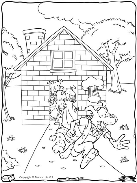 Three Little Pigs Wolf Running Coloring Page Tim's