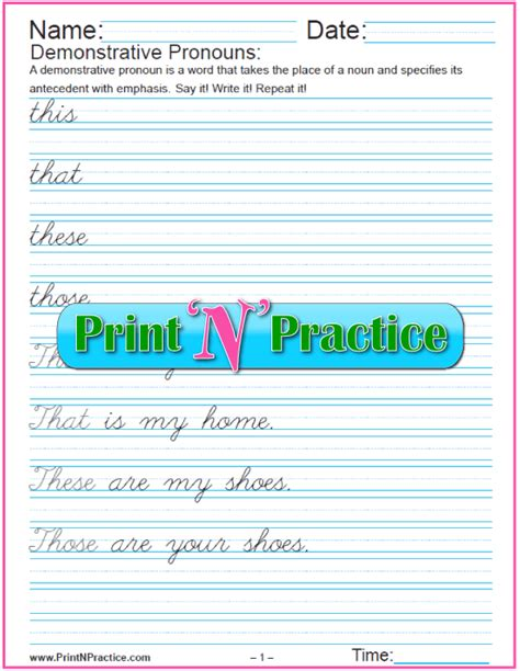 pronoun worksheets  lists  pronouns