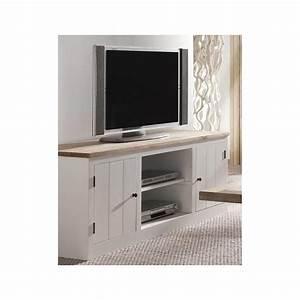 meuble tv a rangement chene massif 150cm aline With meuble tv avec rangement