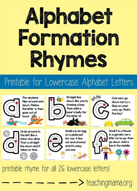 lowercase alphabet formation rhymes teaching 228 | Lowercase Alphabet Formation Rhymes