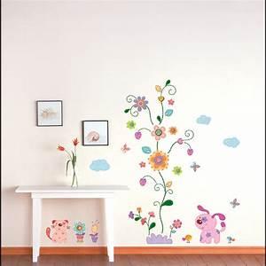 animaux chiots et arbres colores stickers muraux enfants With chambre bébé design avec envoyer des fleurs a londres