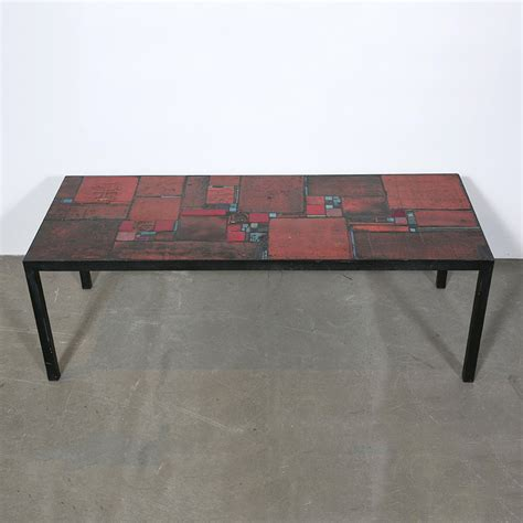 red ceramic table l vintage red ceramic table by pia manu for sale at pamono