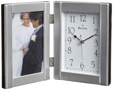 Bulova Desk Clock And Picture Frame by Bulova B1275 Forte Ii Photo Frame Clock The Clock Depot