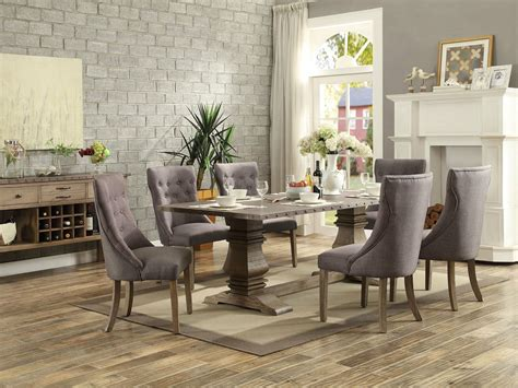 pisa  piece transitional brown dining room rectangular