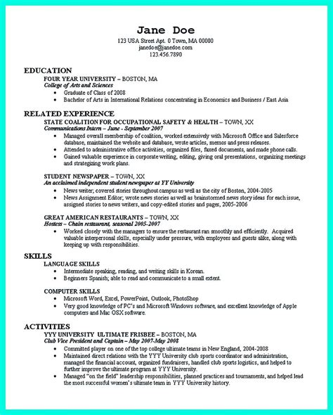 Resume Tips For College Students by Cool Best College Student Resume Exle To Get
