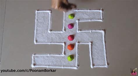 easy  simple multicoloured swastik rangoli craft