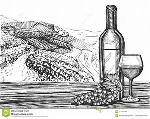 Weinglas Auf Flasche : weinglas flasche und traubenb ndel auf einer landschaft vektor abbildung illustration von ~ Watch28wear.com Haus und Dekorationen