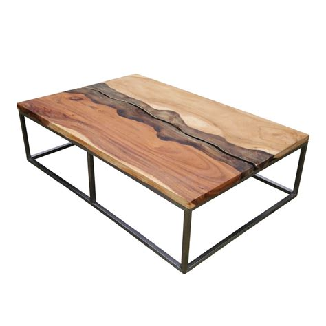 torrance iron base natural  edge coffee table