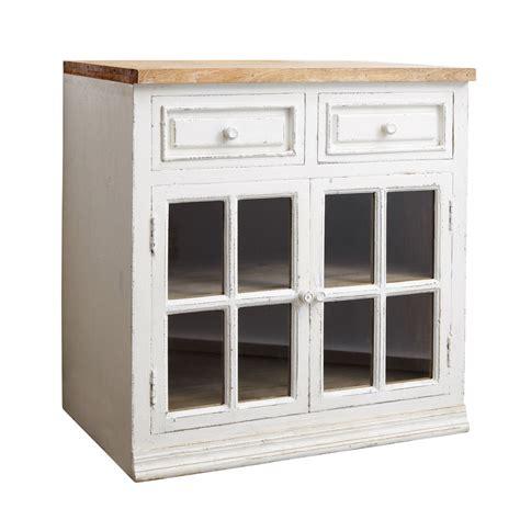 meubles cuisine blanc meuble bas vitré de cuisine en manguier blanc l 80 cm