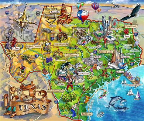 texas map area attraction illustrated map