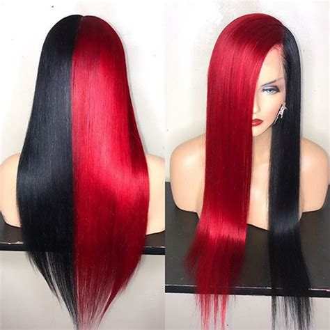 Half Red Half Black Color Custom Wig Straight Full Lace Wig