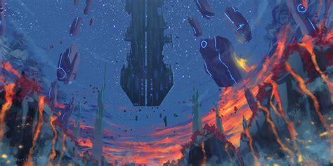fantasy landscape floating objects