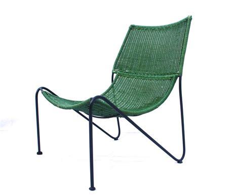 mid century frederick weinberg rattan lounge chair retro