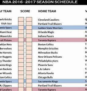 Time Schedule Sheet Nba Schedule 2016 17 My Excel Templates