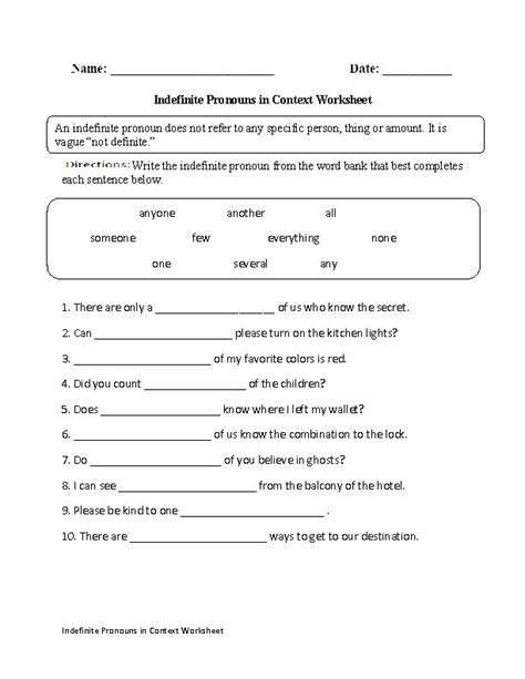 indefinite pronouns in context worksheet englishlinx