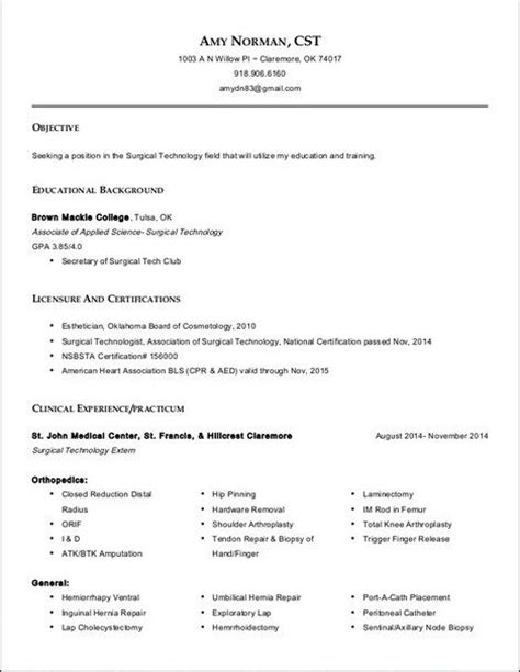 write perioperative resume resume for surgical technologist resume for surgical technologist that we provide here are