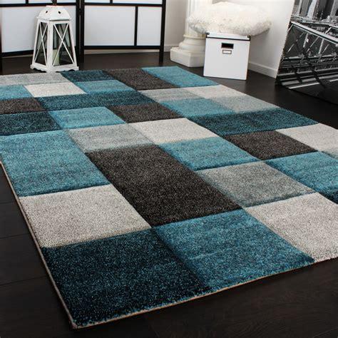designer teppich mit kariert tuerkis grau teppichde