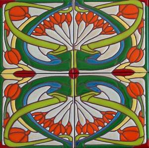 Hand Made Art Nouveau Tiles - Classic Whiplash Design by