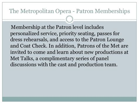 Ronald Sollitto by The Metropolitan Opera Patron Memberships By Ronald Sollitto
