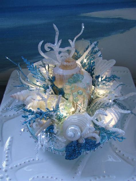 seashell coral reef wedding cake topperelegant light