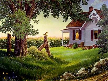 Country Desktop Backgrounds Spring Wallpapers Painting Dual
