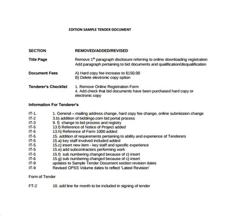 7 sle tender documents pdf