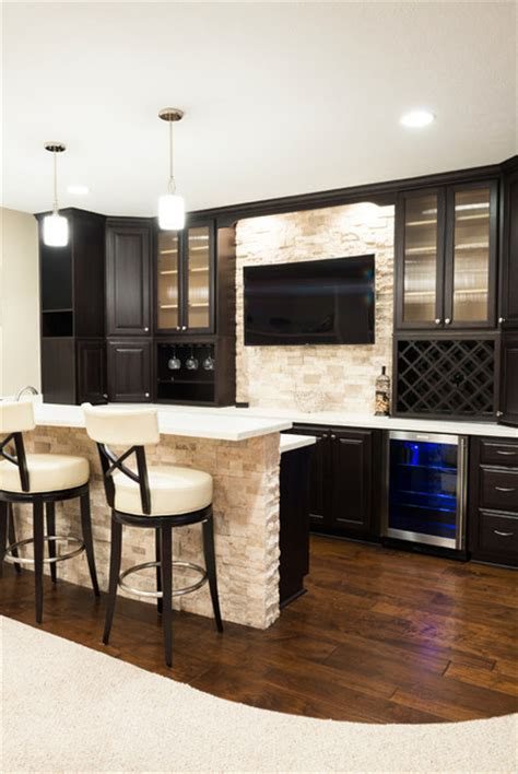 Installing A Bar In Basement by Basement Bar With Wood Flooring And Wall