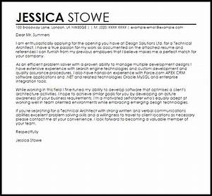 technical architect cover letter sample livecareer With cover letter for architect position