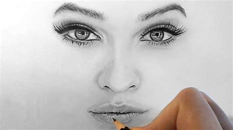 draw shade realistic eyes nose  lips