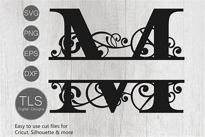 Monogram Letter Svg Split Cricut Cut Dxf