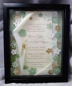 wedding invitation keepsake art shadow box frame With wedding invitation in shadow box