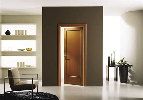 Favored Brown Teak Single Panels Modern Interior Doors With Brown And White Interior Wall Color