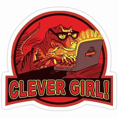 Clever Dinosaur Velociraptor Humor Redbubble Sticker