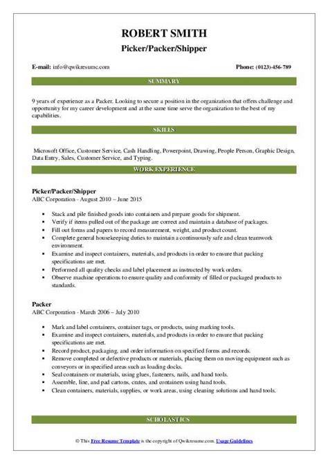 Picker Packer Resume Sle by Packer Resume Sles Qwikresume