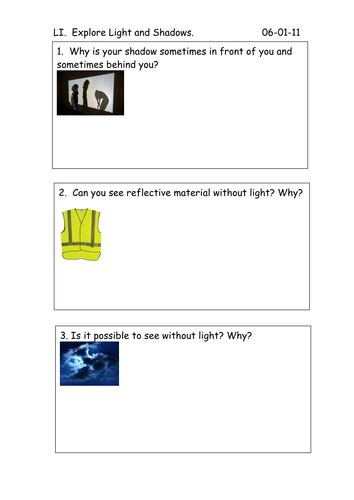 worksheet for light and shadows exploration by jules40 teaching resources tes